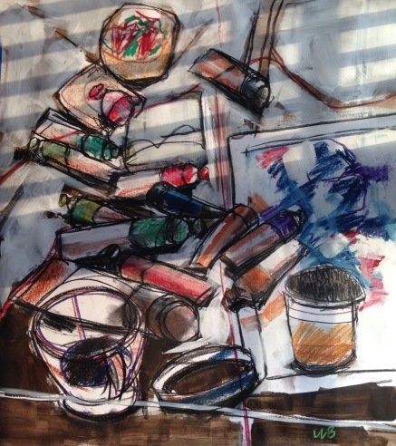 Messy table still life #1, multi-media painting